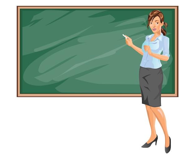 Piękna młoda nauczycielka stoi przed salą lekcyjną