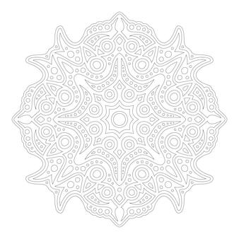 Piękna monochromatyczna ilustracja dla dorosłych kolorowanki książki z abstrakcyjną wschodnią mandalą na białym tle