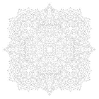 Piękna monochromatyczna ilustracja do kolorowania książki dla dorosłych ze szczegółowym liniowym abstrakcyjnym wzorem na białym tle