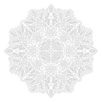 Piękna monochromatyczna ilustracja do kolorowania książki na białym tle