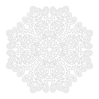 Piękna monochromatyczna ilustracja do kolorowania książki w kształcie abstrakcyjnego płatka śniegu