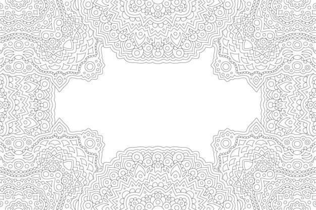Piękna monochromatyczna ilustracja do kolorowania książki z abstrakcyjną ramką liniową