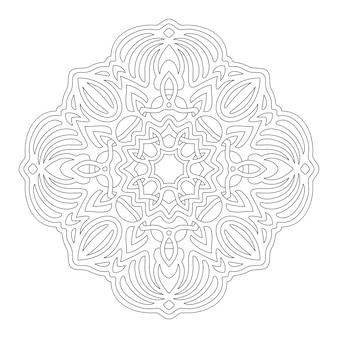 Piękna monochromatyczna ilustracja do kolorowania książki z liniową abstrakcyjną mandalą na białym tle