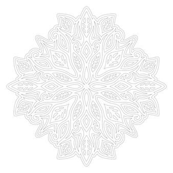 Piękna monochromatyczna ilustracja do kolorowania książki z liniowym abstrakcyjnym wzorem kwiatowym na białym tle