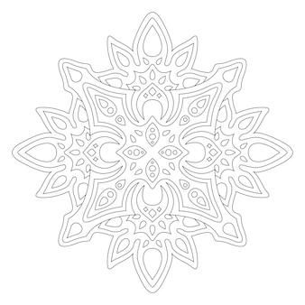 Piękna monochromatyczna ilustracja do kolorowania książki z liniowym abstrakcyjnym wzorem na białym tle