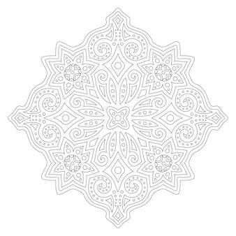 Piękna monochromatyczna ilustracja do kolorowania książki z liniowym abstrakcyjnym wzorem wschodnim na białym