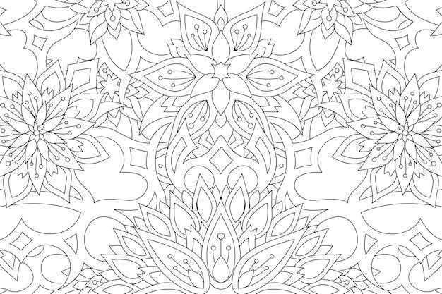 Piękna monochromatyczna ilustracja do kolorowania książki z liniowym wzorem kwiatowym