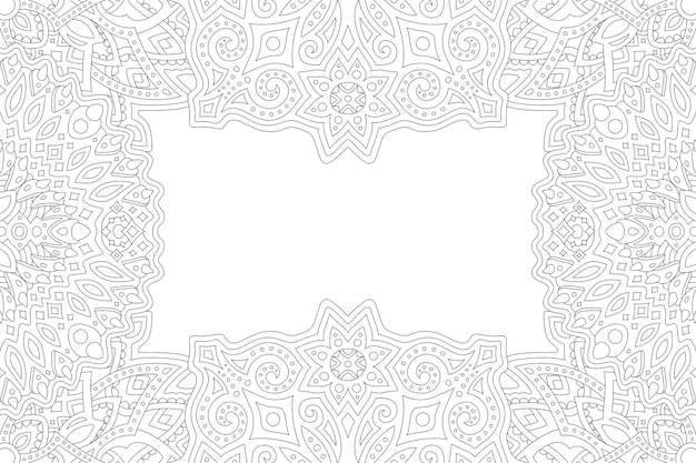 Piękna monochromatyczna ilustracja liniowa dla dorosłych do kolorowania książki z prostokątem