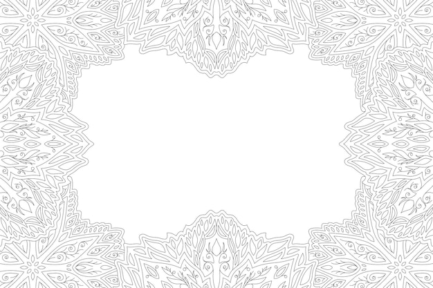 Piękna monochromatyczna ilustracja liniowa dla dorosłych kolorowanka z abstrakcyjną rocznikową ramką kwiatową i białą kopią miejsca