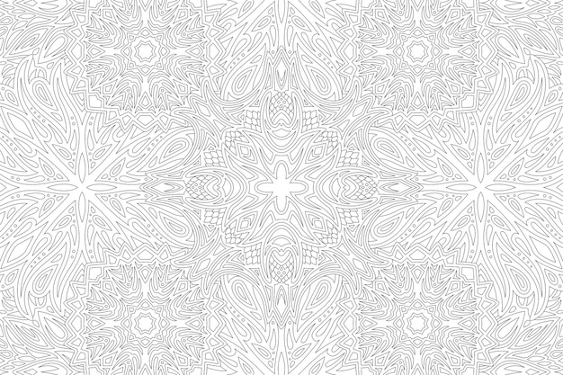 Piękna monochromatyczna ilustracja liniowa dla dorosłych kolorowanka z abstrakcyjnym, szczegółowym wzorem