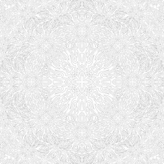 Piękna monochromatyczna ilustracja liniowa dla dorosłych kolorowanka z abstrakcyjnym wzorem kwadratowym na białym tle