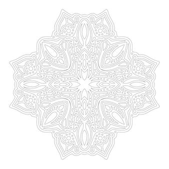 Piękna monochromatyczna ilustracja liniowa dla dorosłych kolorowanki książki z abstrakcyjnym pojedynczym wzorem na białym tle