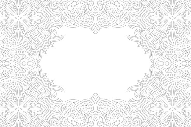 Piękna monochromatyczna ilustracja liniowa dla dorosłych kolorowanki książki z abstrakcyjnym prostokątem szczegółowe obramowanie i białą kopią miejsca