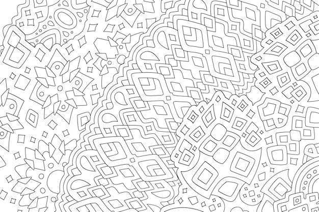 Piękna monochromatyczna ilustracja liniowa dla dorosłych kolorowanki książki z abstrakcyjnym wzorem plemiennym na białym tle
