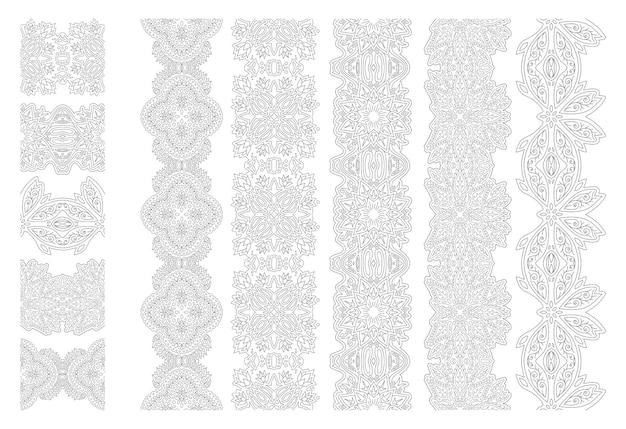 Piękna monochromatyczna ilustracja liniowa dla dorosłych kolorowanki książki z abstrakcyjnymi pędzlami kwiatowymi ustawionymi na białym tle na białym tle