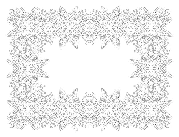 Piękna monochromatyczna ilustracja liniowa dla dorosłych kolorowanki książki z streszczenie prostokąt wschodnia ramka na białym tle na białym tle