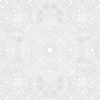 Piękna monochromatyczna ilustracja liniowa do kolorowania książki z abstrakcyjnym kwadratowym wzorem wschodnim