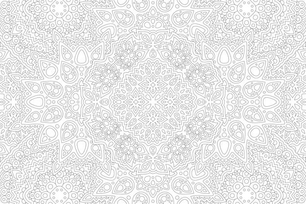 Piękna monochromatyczna ilustracja liniowa do kolorowania książki z abstrakcyjnym szczegółowym wzorem