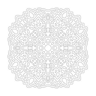 Piękna monochromatyczna ilustracja liniowa do kolorowania książki z abstrakcyjnym wzorem na białym tle na białym tle