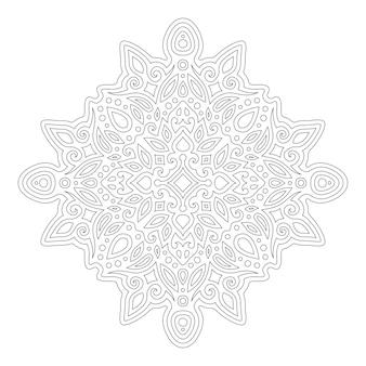 Piękna monochromatyczna ilustracja liniowa do kolorowania książki z abstrakcyjnym wzorem wschodnim na białym tle