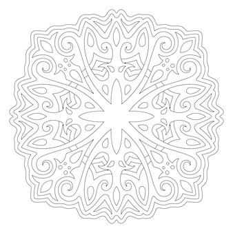 Piękna monochromatyczna ilustracja liniowa do kolorowania książki z izolowanym na białym tle
