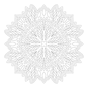 Piękna monochromatyczna ilustracja liniowa do kolorowania książki z jednym kwiatowym wzorem