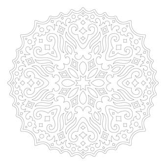 Piękna monochromatyczna ilustracja liniowa do kolorowania strony książki z abstrakcyjną mandalą vintage na białym tle