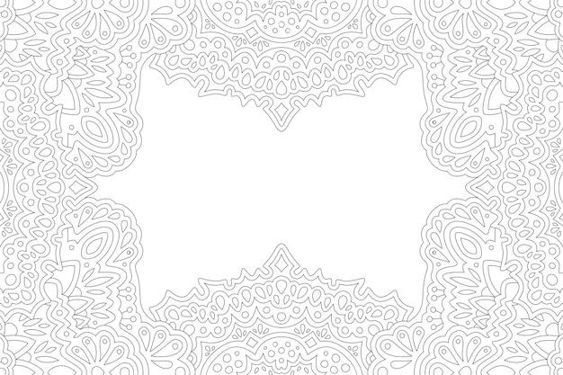 Piękna monochromatyczna ilustracja liniowa do kolorowania strony książki z abstrakcyjną ramką