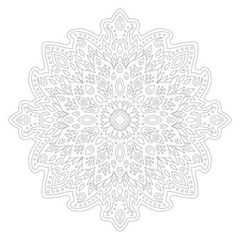 Piękna monochromatyczna ilustracja liniowa do kolorowania strony książki z abstrakcyjnym kwiatowym wzorem na białym tle