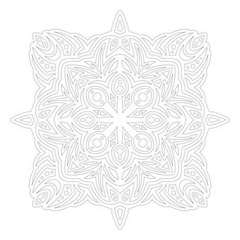 Piękna monochromatyczna ilustracja liniowa do kolorowania strony książki z abstrakcyjnym pojedynczym wzorem na białym tle