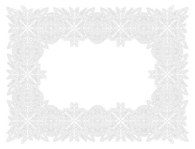 Piękna monochromatyczna ilustracja liniowa do kolorowania strony książki z abstrakcyjnym prostokątem szczegółowa rama vintage na białym tle