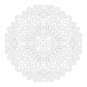 Piękna monochromatyczna ilustracja liniowa do kolorowania strony książki z abstrakcyjnym rogatym wzorem fantasy na białym tle