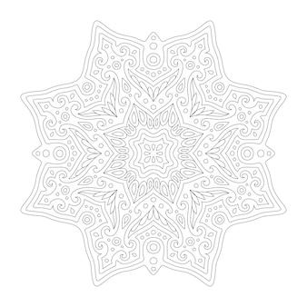 Piękna monochromatyczna ilustracja liniowa do kolorowania strony książki z abstrakcyjnym wschodnim wzorem na białym tle