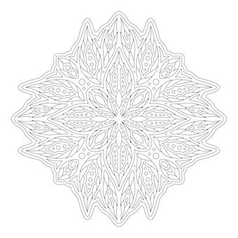 Piękna monochromatyczna ilustracja liniowa do kolorowania strony książki z abstrakcyjnym wzorem kwiatowym na białym tle