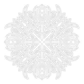 Piękna monochromatyczna ilustracja liniowa do kolorowania strony książki z abstrakcyjnym wzorem vintage na białym tle