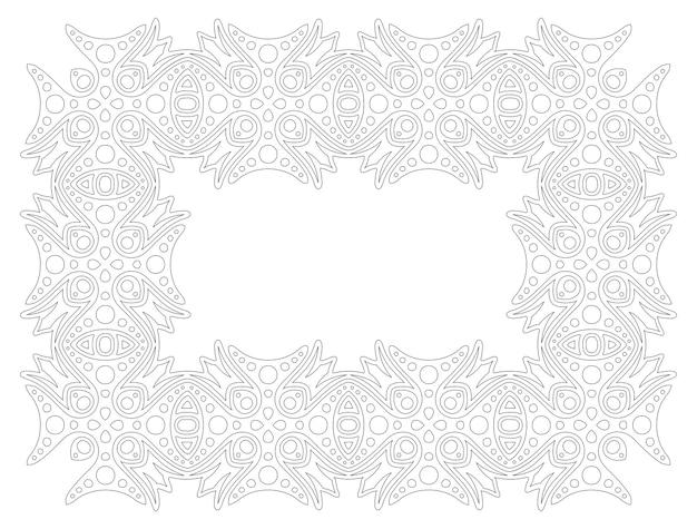 Piękna monochromatyczna ilustracja liniowa do kolorowania strony książki z na białym tle streszczenie szczegółowe ramki
