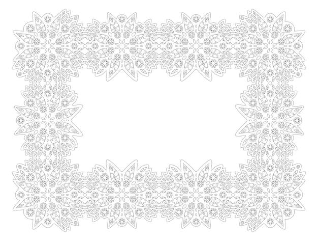 Piękna monochromatyczna ilustracja liniowa do kolorowania strony książki z prostokątną ramką kwiatowy na białym tle