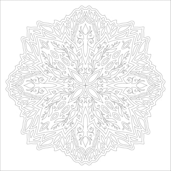 Piękna monochromatyczna ilustracja liniowa kolorowanka z abstrakcyjnym wzorem kwiatowym