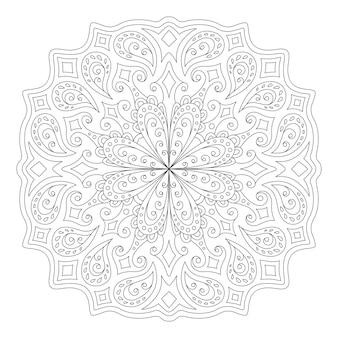 Piękna monochromatyczna ilustracja liniowa kolorowanka z abstrakcyjnym wzorem wschodnim