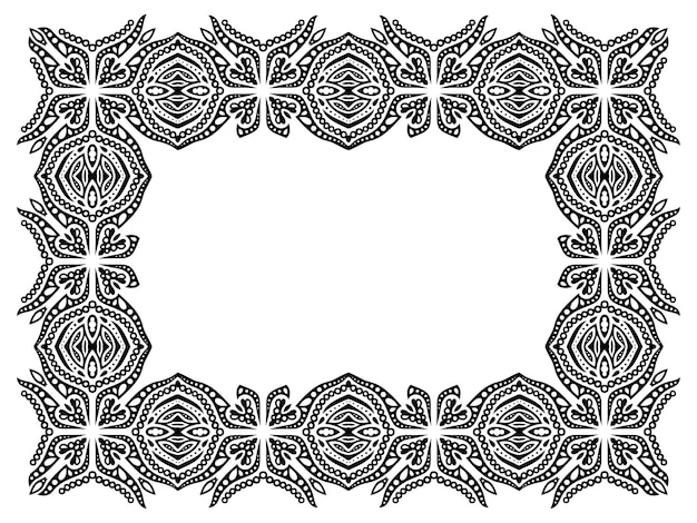 Piękna monochromatyczna ilustracja plemienna z abstrakcyjną prostokątną czarną ramką na białym tle
