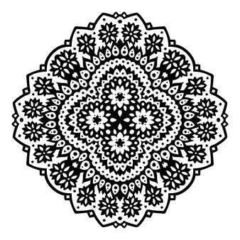 Piękna monochromatyczna ilustracja plemienna z abstrakcyjnym czarnym wzorem kwiatowym