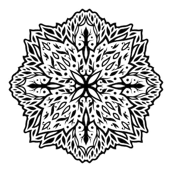 Piękna monochromatyczna ilustracja plemiennych tatuaży z abstrakcyjnym vintage kwiatowym wzorem na białym tle