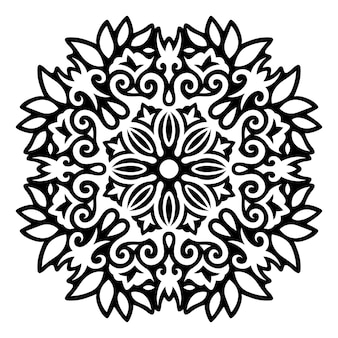 Piękna monochromatyczna ilustracja tatuaż plemienny z abstrakcyjnym czarnym wzorem kwiatowym na białym tle