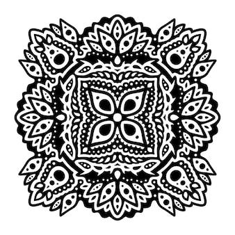 Piękna monochromatyczna ilustracja tatuaż plemienny z abstrakcyjnym wzorem kwiatowym na białym tle