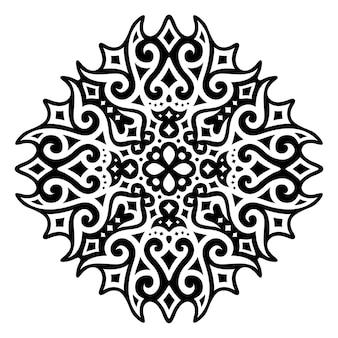 Piękna monochromatyczna ilustracja tatuażu plemiennego z abstrakcyjnym czarnym kosmicznym wzorem na białym tle