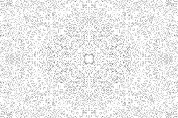 Piękna monochromatyczna ilustracja wektorowa dla dorosłych kolorowanka z abstrakcyjnym szczegółowym wschodnim wzorem liniowym