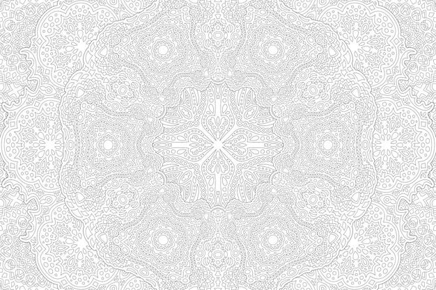 Piękna monochromatyczna ilustracja wektorowa dla dorosłych kolorowanka z abstrakcyjnym szczegółowym wzorem wschodnim na białym tle