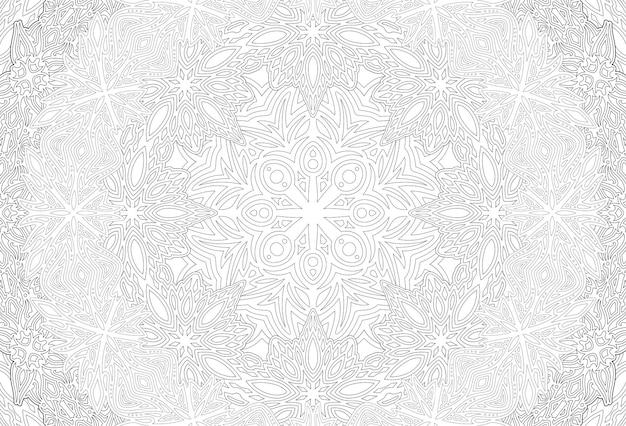 Piękna monochromatyczna ilustracja wektorowa dla dorosłych kolorowanka z abstrakcyjnym wzorem liniowym na białym tle