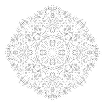 Piękna monochromatyczna ilustracja wektorowa dla dorosłych kolorowanki książki z abstrakcyjnym wzorem fantasy na białym tle na białym tle