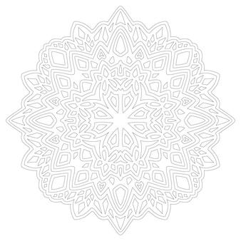 Piękna monochromatyczna ilustracja wektorowa dla dorosłych kolorowanki książki z streszczenie mandala liniowa na białym tle na białym tle